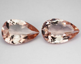 5.67 Cts Natural Peach Pink Morganite 2 Pcs Pear Cut Brazil