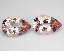 5.32 Cts Natural Peach Pink Morganite 2 Pcs Pear Cut Brazil