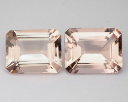 5.46 Cts Natural Peach Pink Morganite 2 Pcs Octagon Cut Brazil