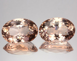 ~PAIR~ 11.89 Cts Natural Peach Pink Morganite Oval Cut Brazil