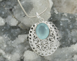 CERTIFIED  PENDANT 925 STERLING SILVER CHALCEDONY  NATURAL GEMSTONE JE1274