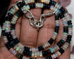 43 Crt Natural Ethiopian Fire Opal & Smoked Opal Beads Necklace 101