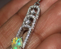 Natural Ethiopian Fire Opal 925 Silver Pendant Jewelry 98