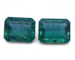 5.4 ct Pair Emerald Cut Emerald