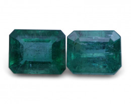 5.19 ct Pair Emerald Cut Emerald - $1 No Reserve Auction