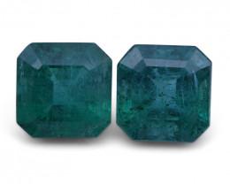 4.94 ct Pair Square Emerald