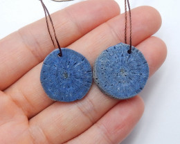29.5cts Blue Coral stone Earrings natural indigo earthy jewelry A846