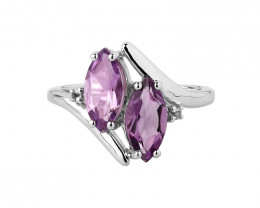 Amethyst marquise Sterling silver ring #477