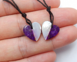 New purple stone, shell Intarsia gemstone heart earring pairs A815