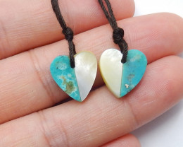 New amazonite stone, shell Intarsia gemstone heart earring pairs A816