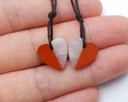 red river stone, rose quartz  Intarsia gemstone heart earring pairs A817