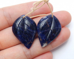 32cts Blue sodalite gemstone earring pairs , natural  earthy jewelry A821