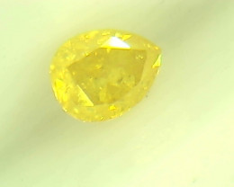 0.20ct Fancy Vivid Yellow Diamond , 100% Natural Untreated