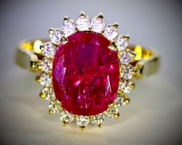 GIA Certified Jegdalek Ruby 3.82ct with Diamonds 18K Solid Gold Ring