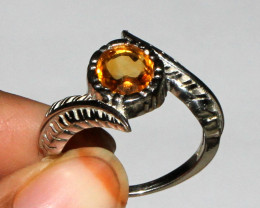 Natural Citrine 925 Sterling Silver Ring Size (8 US) 18