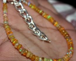 19 Crt Natural Ethiopian Welo Fire Yellow Opal Beads Bracelet 17