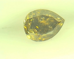 0.31ct  Fancy Deep Green Brown Diamond , 100% Natural Untreated