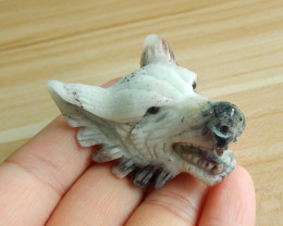 Carve wolf amazonite gemstone. hand carved Pendant Gift A879