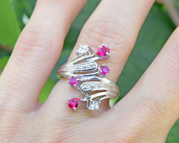 Natural Burmese Ruby 925 Sterling Silver Ring  (SSR0003 )
