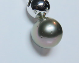 11.50mm 18k South Sea Tahitian Black Pearl White Gold Pendant