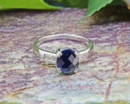 Natural Black Sapphire 925 Sterling Silver Ring   (SSR0459 )