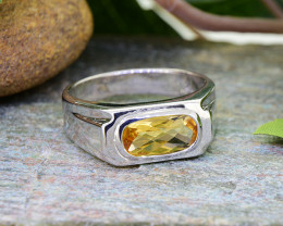 Natural Citrine 925 Sterling Silver Ring  (SSR0465)