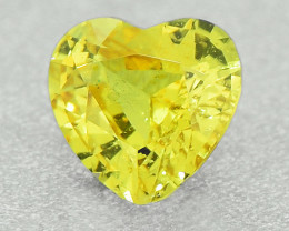 Unheated Vivid Yellow Sapphire .54 Ct Amazing Gemstone Heart Well Cut (0135