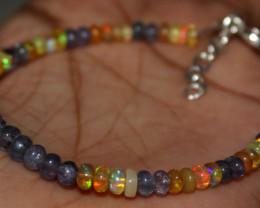 19 Crt Natural Ethiopian Welo Fire Opal & Tanzanite Beads Bracelet 120