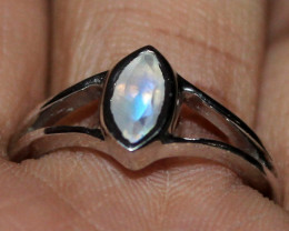 Natural Faceted Rainbow Moonstone 925 Sterling Silver Ring Size ( 7 US) 38