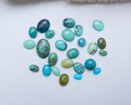 34.5cts Unique natural turquoise oval cabochon beads semi-gem A886