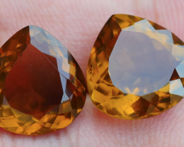 11.30 CRT BEAUTY PAIR HONEY QUARTZ FACETED-