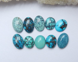 30.5cts Unique natural turquoise oval cabochon beads semi-gem A887