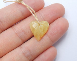 Carved leave pendant natural yellow opal birthday present ,gift A888