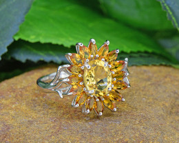 Natural Citrine 925 Sterling Silver Ring (SSR0476 )