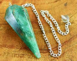 Genuine 84.00 Cts Green Jade Healing Point Pendulum