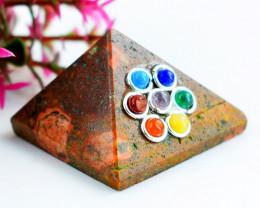 Genuine 95.00 Cts Jasper Seven Chakra Healing Pyramid