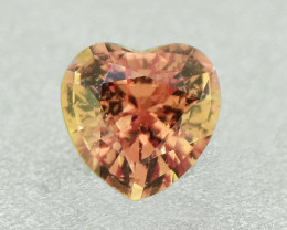 Unheated Bi Colour Golden Orange & Yellow Sapphire .52 Ct Heart Well Cu