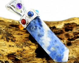 Genuine 8.0 Gms Sodalite Seven Chakra Healing Point Pendant