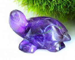 Genuine 33.00 Cts Purple Amethyst Carved Turtle