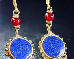 49.40 CT Natural lapis lazuli Carved earrings Special Shape