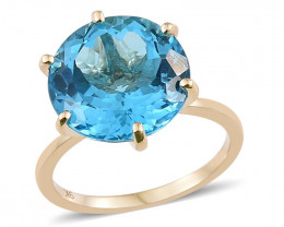 Rare Size Marambaia Swiss Blue Topaz in 9ct. Gold