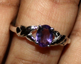Natural Amethyst 925 Sterling Silver Ring Size (6.5 US) 36