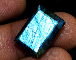 Genuine 13.00 Cts Faceted Blue Flash Labradorite Cabochon
