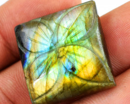 Genuine 40.00 Cts Amazing Flash Labradorite Carved Cabochon