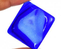Genuine 98.00 Cts Blue Druzy Onyx Cabochon