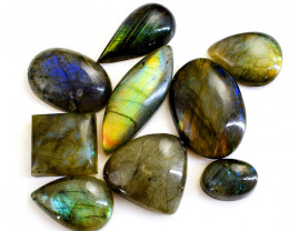 Genuine 269.00 Cts Amazing Flash Labradorite Untreated Cabochon Lot