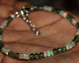 14 Crt Natural Ethiopian Fire Opal & Green Apatite Beads Bracelet 103
