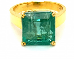 GIA Certified Zambian Emerald 10.17ct Solid 18K Yellow Gold Ring