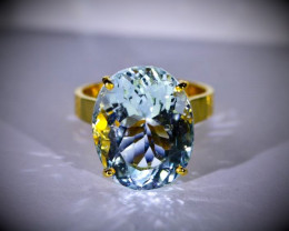 GIA Certified Aquamarine 15.56ct Solid 22K Yellow Gold Ring