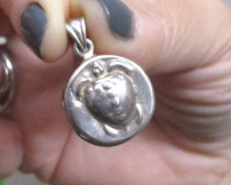 Heavy Ancient Greek Sterling Silver Coin Replica as Pendant